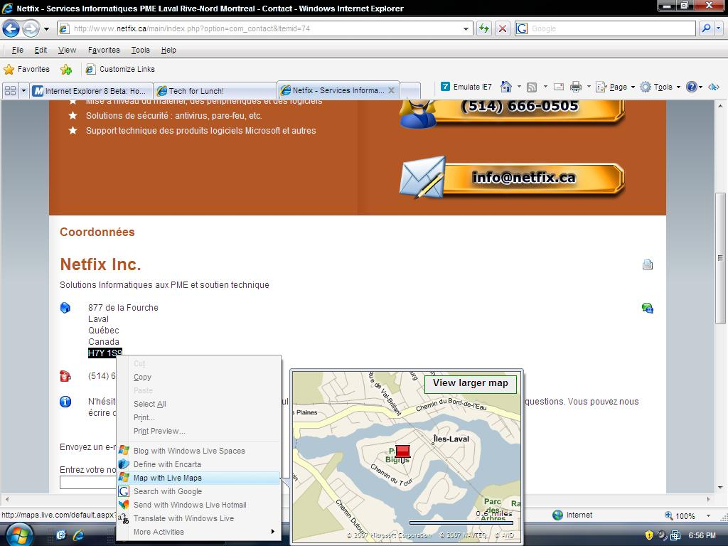 IE8 Activities - maps screenshot